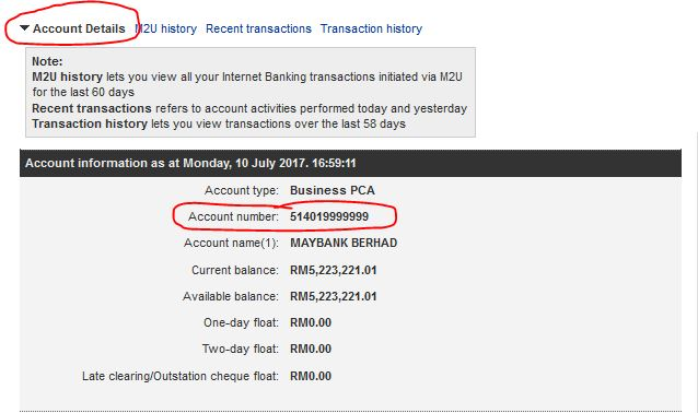 Check Maybank Account Number online
