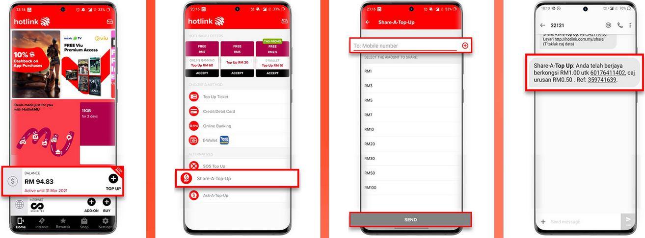 Share Top Up Maxis via Hotlink App
