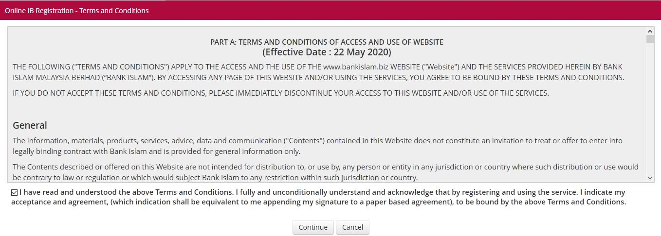 terms and conditions bank Islam