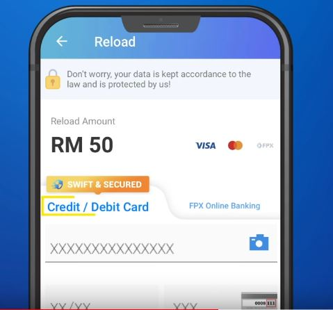 Reload Touch n Go with Debit Credit Card