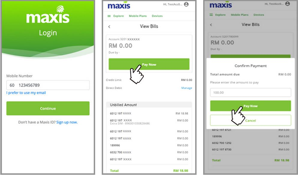 How to Pay Maxis bill via Maxis Self Serve