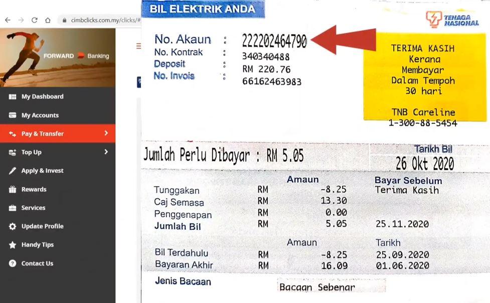 How to Pay TNB Bill Using CIMB Clicks Using JomPAY