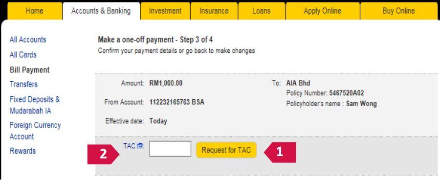 Pay AIA Insurance via M2u