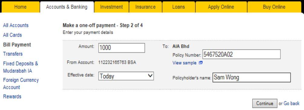 Pay AIA Insurance via Maybank2u