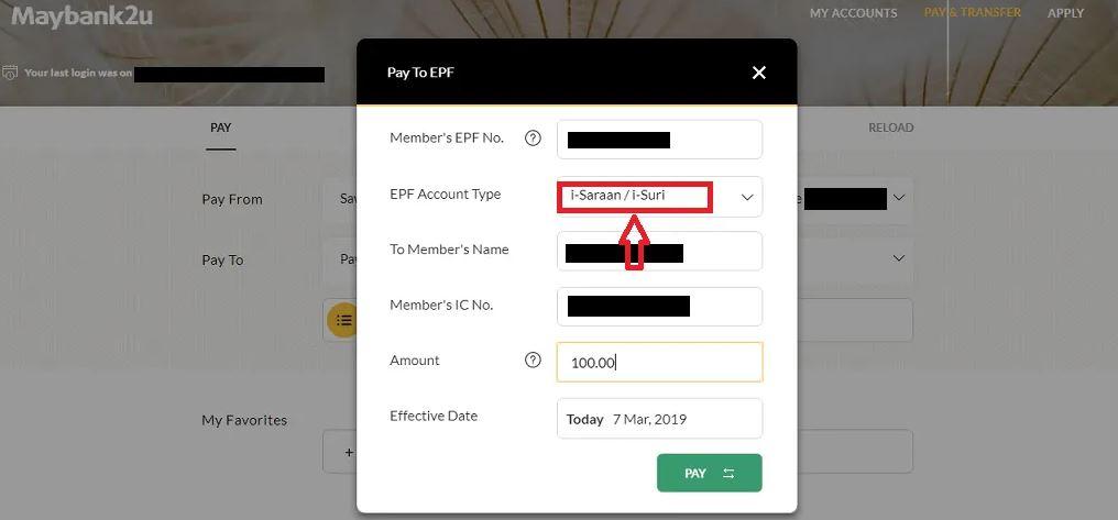 Pay EPF i-Saraan via Maybank2U