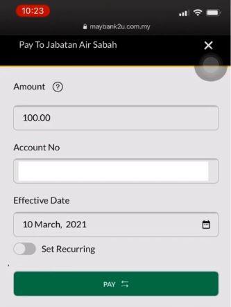 Pay Water Bill Jabatan Air Negeri Sabah Using M2u