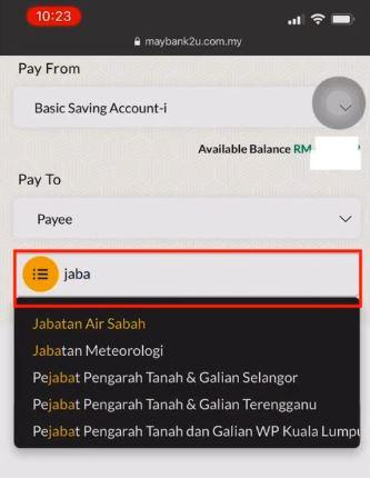 Pay Water Bill Jabatan Air Negeri Sabah Using Maybank2u