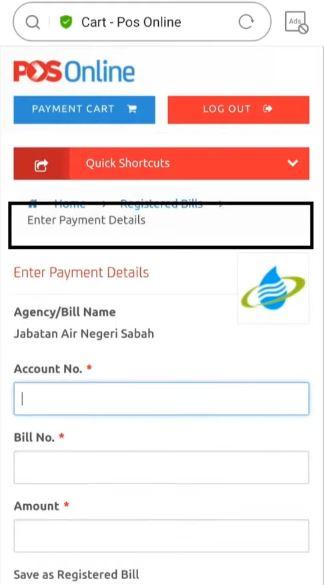 Pay Water Bill Jabatan Air Negeri Sabah Using Pos Online