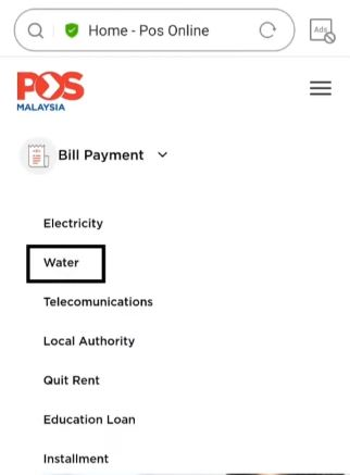 Pay Water Bill Jabatan Air Negeri Sabah via Pos Online