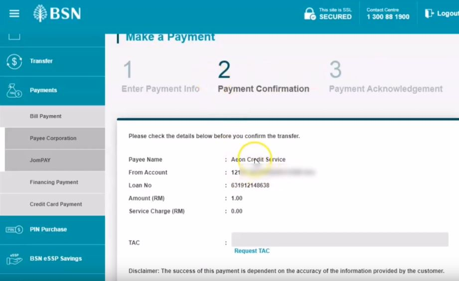 How To Pay using AEON BSN