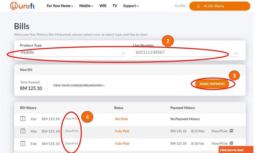 How To Pay via Unifi Online