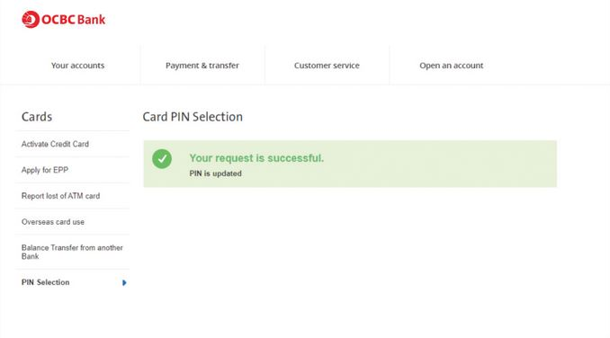 How to Activate OCBC Debit Card using Internet Banking