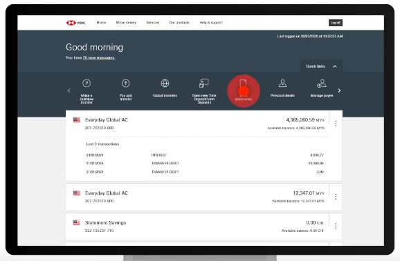 How to Download and Print HSBC Bank Statement using Online Banking